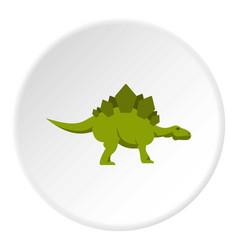 Green stegosaurus dinosaur icon circle vector