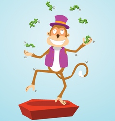 Monkey juggling money vector