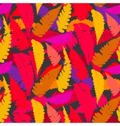 Grunge autumn pattern with fern leafs vector