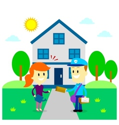 Postman Delivering A Letter to A Woman vector image