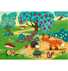 Animals in the wood vector