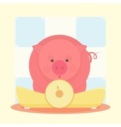Piglet standing on the scales vector