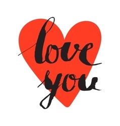 Love you inscription on the red heart background vector