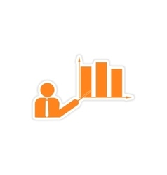 Stylish sticker on paper people and chart vector