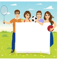 Young students with different sports equipment vector