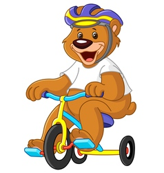 bear on tricycles vector image