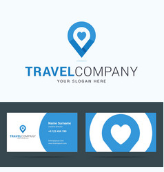 Logo and business card template for travel company vector