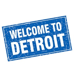 Detroit blue square grunge welcome to stamp vector