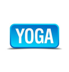 Yoga blue 3d realistic square isolated button vector