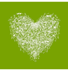 White floral heart shape on green vector