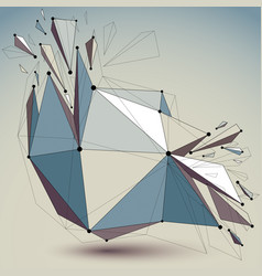 Abstract low poly wrecked object with black lines vector