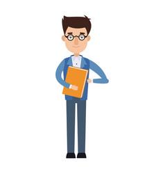 Businessman holding a folder employee work vector