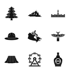 Canada travel icon set simple style vector