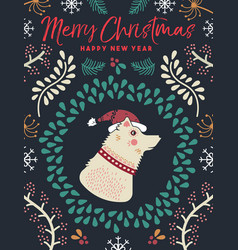 Christmas and new year winter dog greeting card vector
