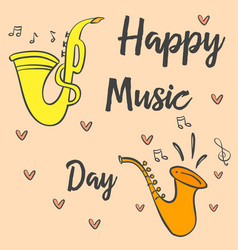 Collection stock music day card vector