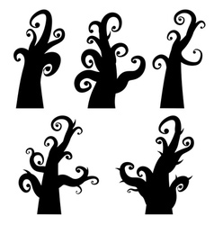 Crooked Spooky Trees2 vector image