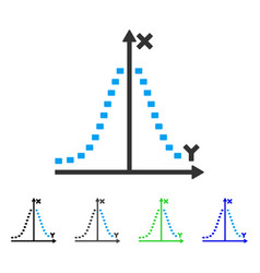 Dotted gauss plot flat icon vector
