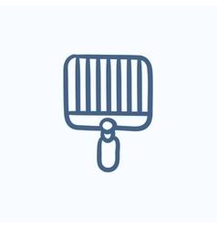 Empty barbecue grill grate sketch icon vector image
