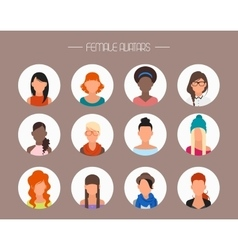 Female avatar icons set People characters vector image vector image
