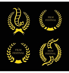 Film festival gold award set vector
