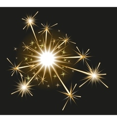 Fireworks sparkler on black background vector image