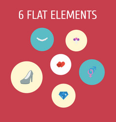 Flat icons brilliant posy love and other vector