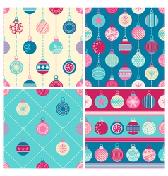 Four Christmas seamless patterns vector image vector image