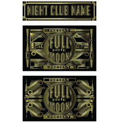 fullmoon party art deco design flyer disco night vector image