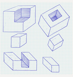 Geometric figures cube shapes hand drawn sketch vector