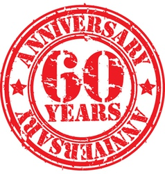 Grunge 60 years anniversary rubber stamp vector