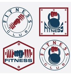 Hand holding barbell and kettlebell in emblems of vector