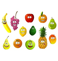 Happy smiling cartoon fruits characters vector