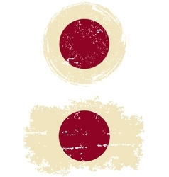 Japanese round and square grunge flags vector
