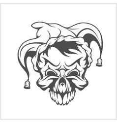 Joker skull wearing a clown jesters cap hat with vector