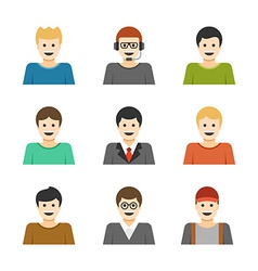 Man Characters Faces Avatars User Profile Cartoon vector image