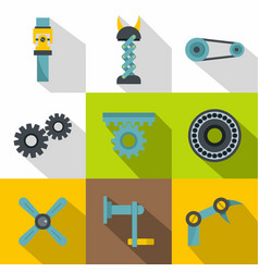 mechanisms icon set flat style vector image vector image