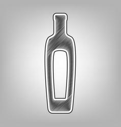 Olive oil bottle sign pencil sketch vector