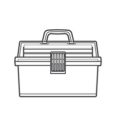 Outline fishing tackle box vector