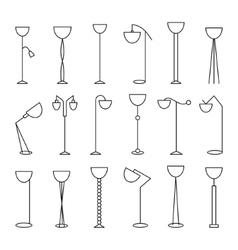 Outline floor lamp Set vector image