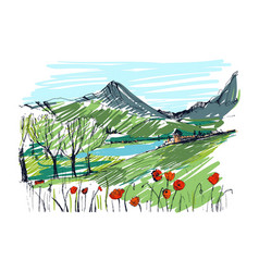 Remarkable georgian landscape sketch colorful vector