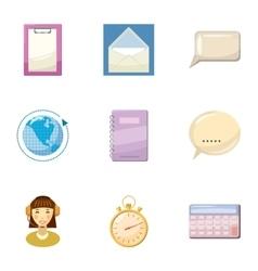 Round clock consultation icons set cartoon style vector