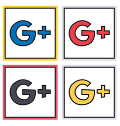 Set of google plus icons on background vector