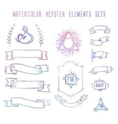 Set of hand drawn blank vintage badges borders vector image