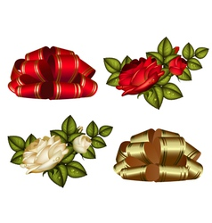 set of red and gold bows and roses vector image vector image