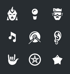 set of rock music icons vector image vector image