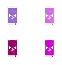 Set of stylish sticker on paper hourglass coins vector