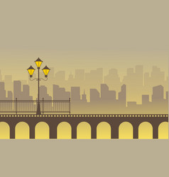 Silhouette of bridge with town background vector