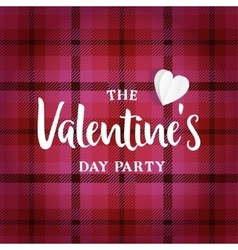 Valentines day greeting card invitation tartan vector