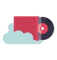 vinyl music with cloud isolated icon design vector image vector image