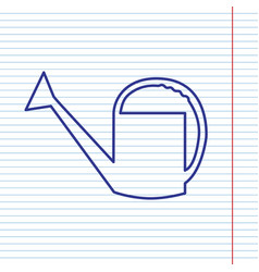 Watering sign navy line icon on notebook vector